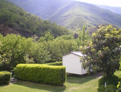 Our mobil-homes with view of the Cevennes