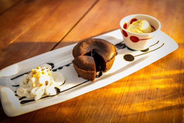 Fondant au chocolat restaurant le Mouretou à Valleraugue
